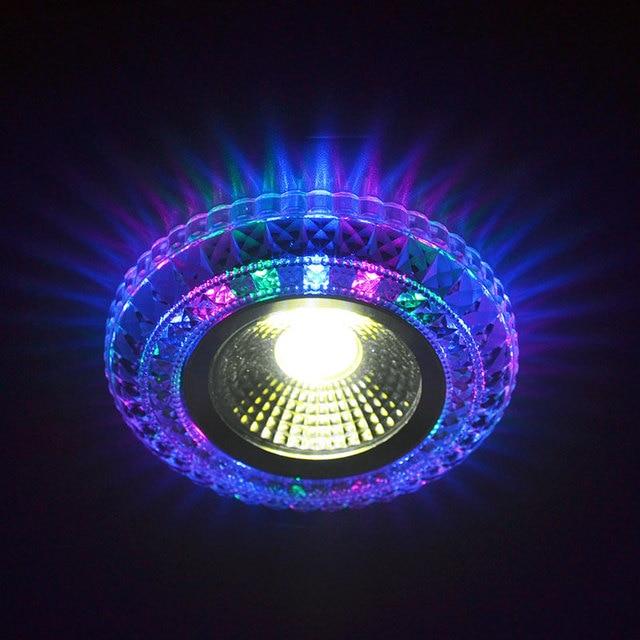 COB LED Downlight פנל צבעוני אור RGB 3 W 110 V 220 V שקוע מנורה לנורת הלוגן מנורת קישוט סגול אור ספוט