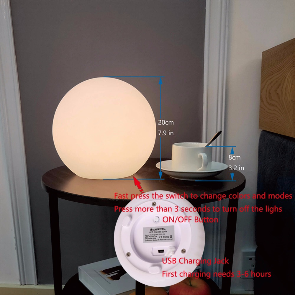 Home LED Ball Night Lights Rechargeable Portable Bedside Night Lamp Mood Light Table Lamp Colors Changing Perfect for Bedroom in LED Night Lights from Lights Lighting