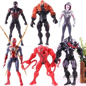 Marvel Avengers Action Figure Dead Pool Spider Man Captain America Venom PVC Collection Model Toy With Light 6-7pcs/set