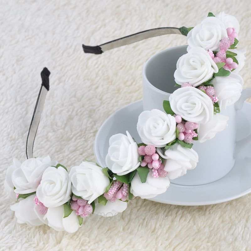 Pink/White Flower Garland Boho Floral Headband Headwear Garland ...