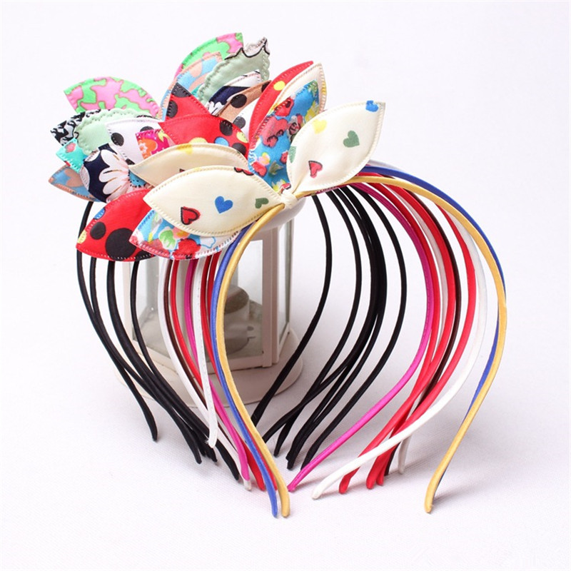 2017 New 1PC Korean Fashion Hair Band Cute Hairband Cloth Rabbit Ears Headband Flower Dot Print Hair Accessories for Women Girl shanfu women zebra stripe sinamay fascinator feather headband fashion lady hair accessories blue sfc12441