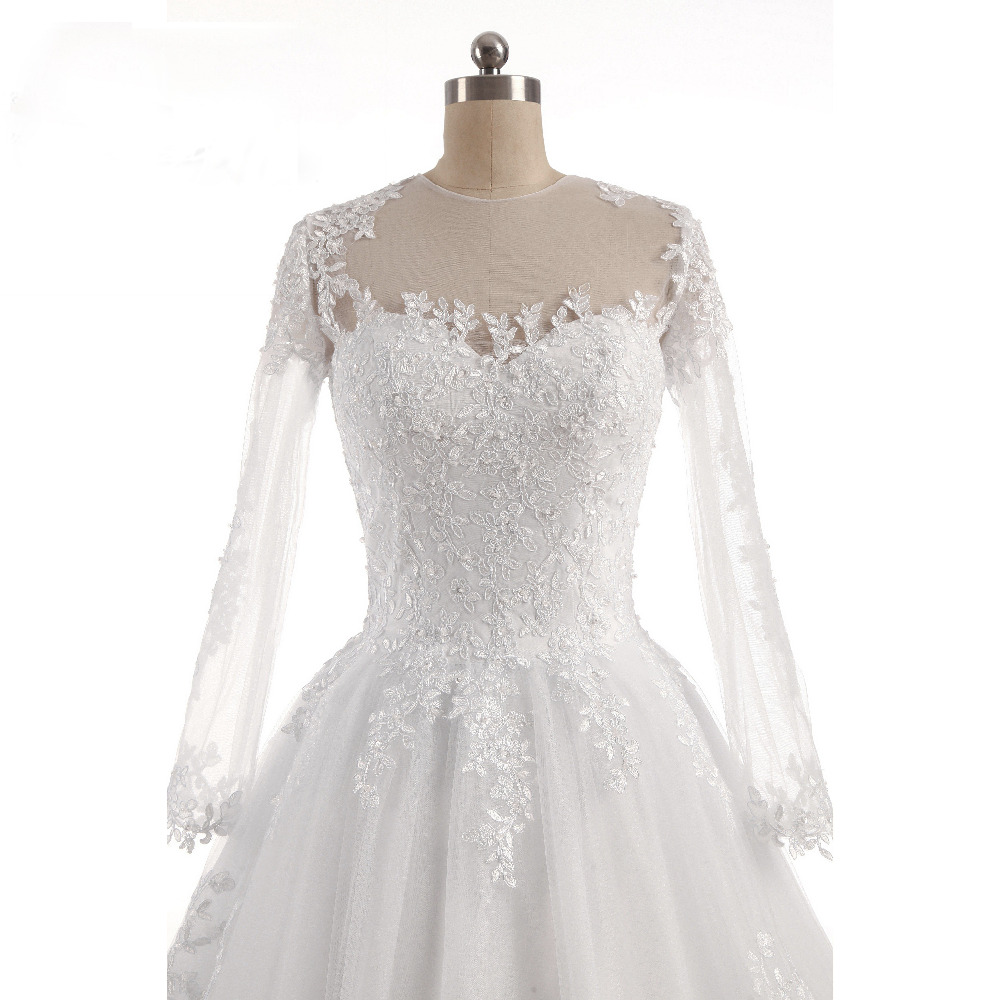 Lover Kiss Vestido De Noiva O-Neck Iusion Back Long Sleeve Wedding Dress Lace Ball Gown Wedding Gowns Custom-Made Wedding Dress 4