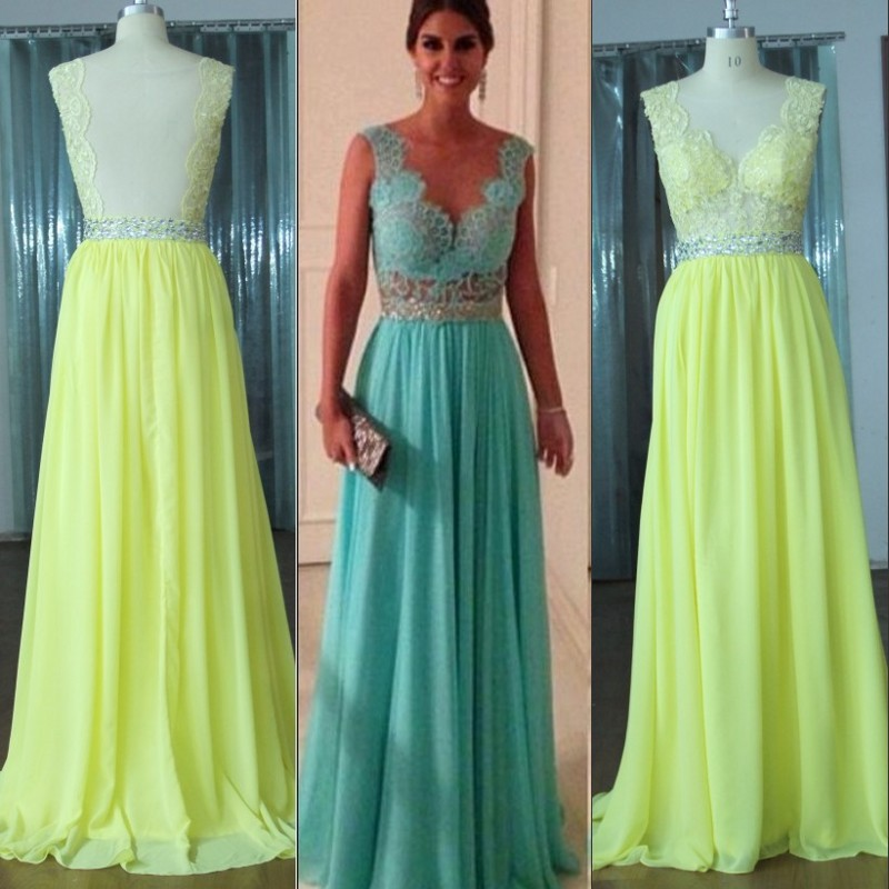 Sweetheart Lace Top Green Crystal A Line Floor Length Chiffon Long Prom Dress Evening Dresses In From Weddings Events On Aliexpress