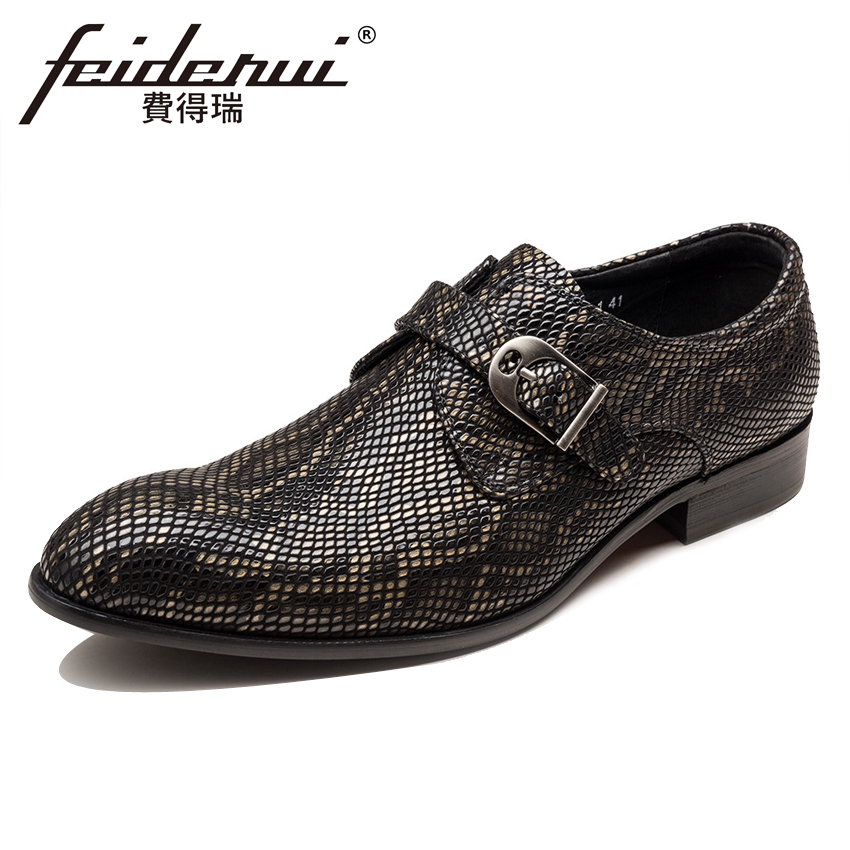 Luxury Snake Pattern Patent Leather Men's Monk Strap Formal Dress Footwear Round Toe Handmade Male Casual Shoes For Man YMX411 luxury snake pattern patent leather men s monk strap formal dress footwear round toe handmade male casual shoes for man ymx411