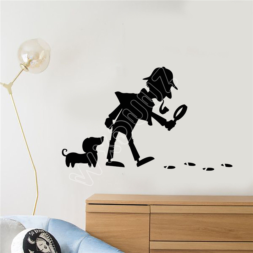 WXDUUZ Vinyl Wall Decal Cartoon Detective Snoop Dog Footprints Stickers kitchen living room Vinyl Wall Sticker Home Decor B571
