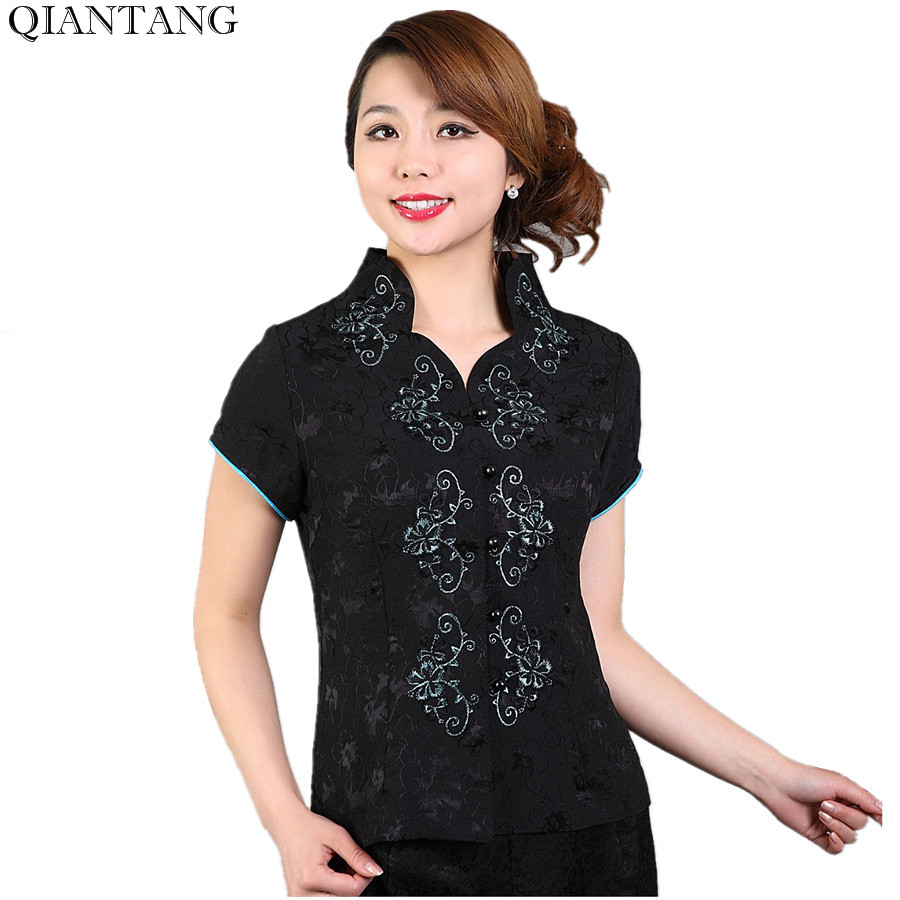 New Arrival Black Summer V-Neck Shirt Tops Chinese Women's Satin Short Sleeves Blouse Mujer Camisa Size S M L XL XXL XXXL Mnz04E