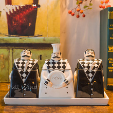 Interesting Kitchen chef Ceramic Flavoring jar Bakers Kitchen modeling seasoning storage bottle