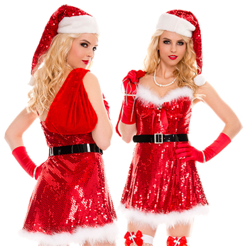 high quality Red shiny beads Christmas costumes sexy Christmas DS performance stage Dress nightclub singer uniform temptation