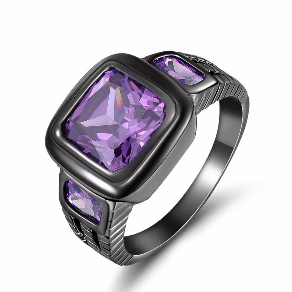 Fashion male purple stone black gold Jewelry Amethyst finger Ring