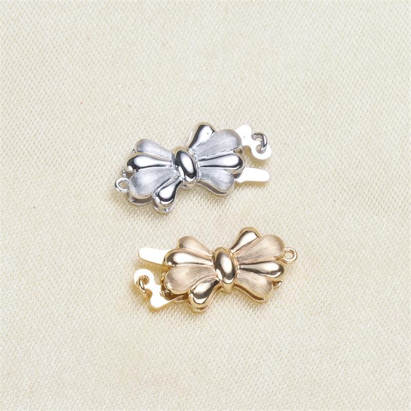 Bricolage accessoires perle jade collier bracelet chandail chaîne à une rangée moraillon G14K or exquis patch boucle
