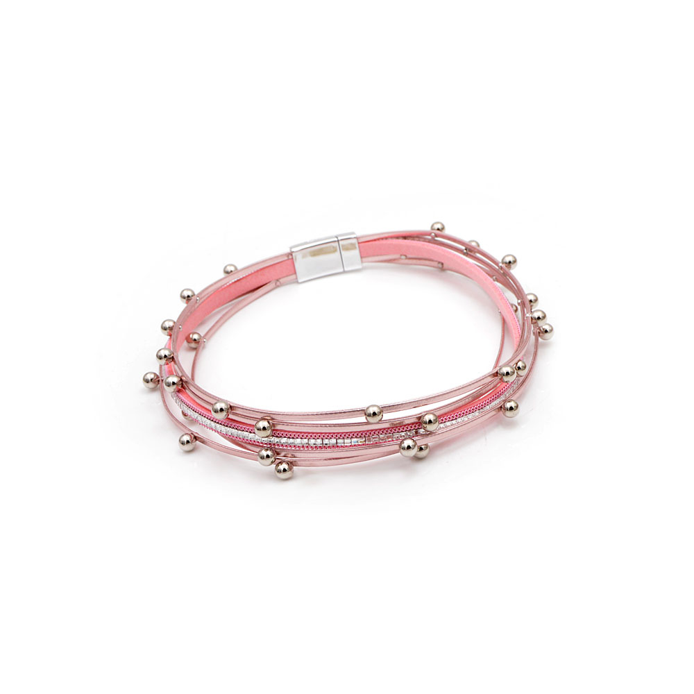 CINDY XIANG Small Alloy Ball Long Twisted Leather Bracelets For Women Pin Color Rhinestone Cuff Bangles Fasion Jewelry Summer in Bangles from Jewelry Accessories