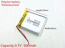 3.7V,500mAH [503035] PLIB (polymer lithium ion / Li-ion battery ) for Smart watch,GPS,mp3,mp4,cell phone,speaker