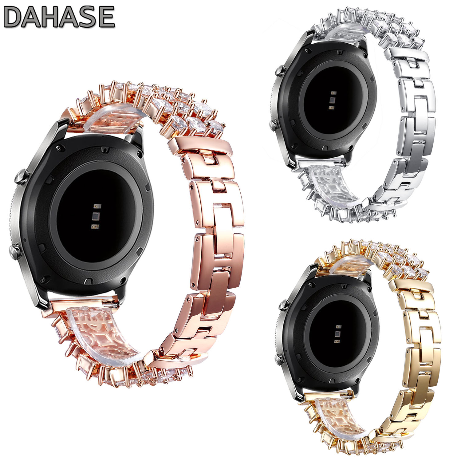 DAHASE Bling Bracelet Diamond Watch Band for Samsung Galaxy Gear S3 Frontier Stainless Steel Link Strap for Gear S3 Classic 22mm replacement strap for samsung gear s3 classic watch band sport silicone bracelet strap for samsung gear s3 frontier band