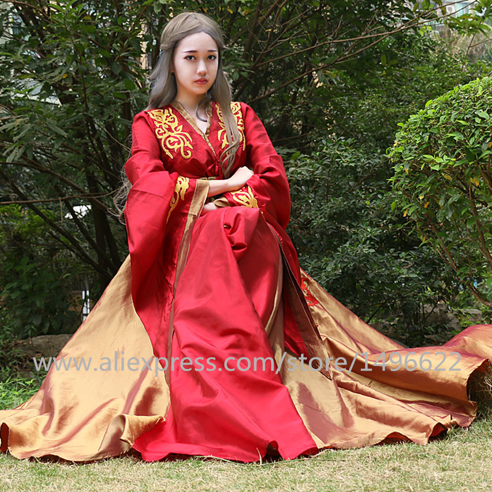 Custom Made Queen Cersei Lannister Červená exkluzivní šaty Hra - Kostýmy