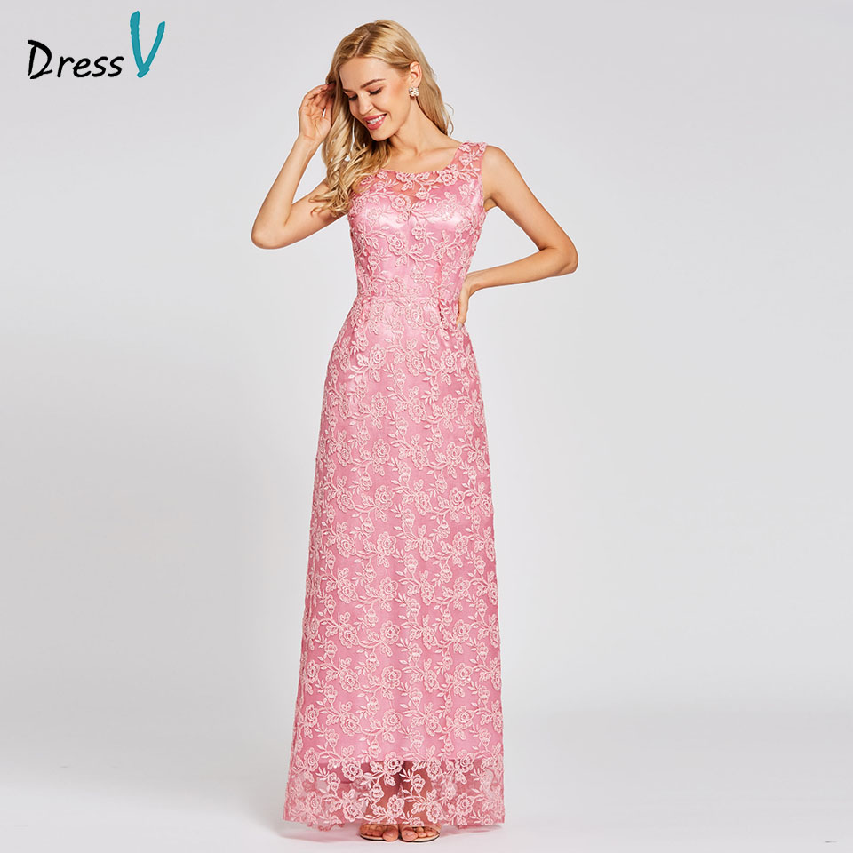 Dressv Peach Long A Line Evening Dress Backless Cheap Scoop Neck Lace Sequins Wedding Party Formal Dress Evening Dresses