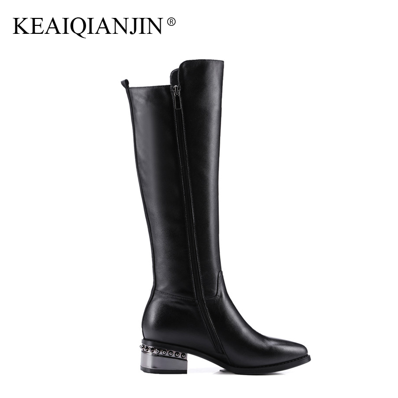 KEAIQIANJIN Woman Knee High Boots Mujer Pointed Toe Rivet Winter Bottes Shoes Metal Decoration Genuine Leather Riding Boots