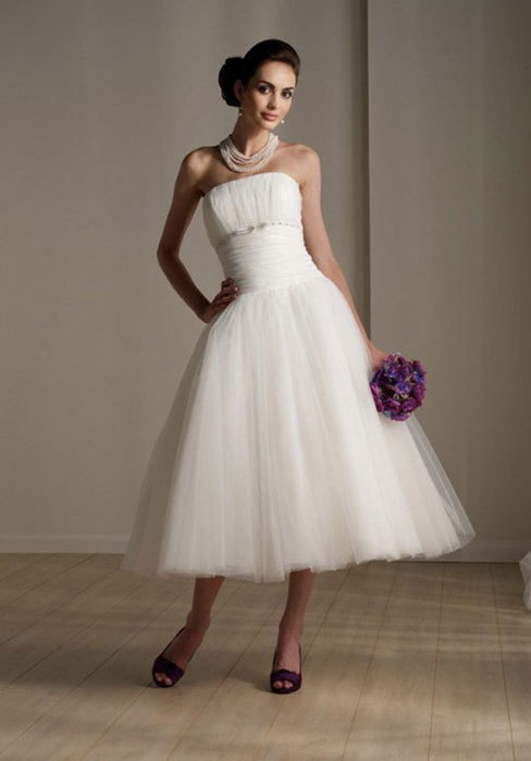 2016 tea length plus size wedding dress sexy bridal for Mid length wedding dress