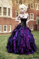Robe De Mariage Purple And Black Taffeta Ball Gown Gothic Wedding Dresses Corset Victorian Halloween Bridal