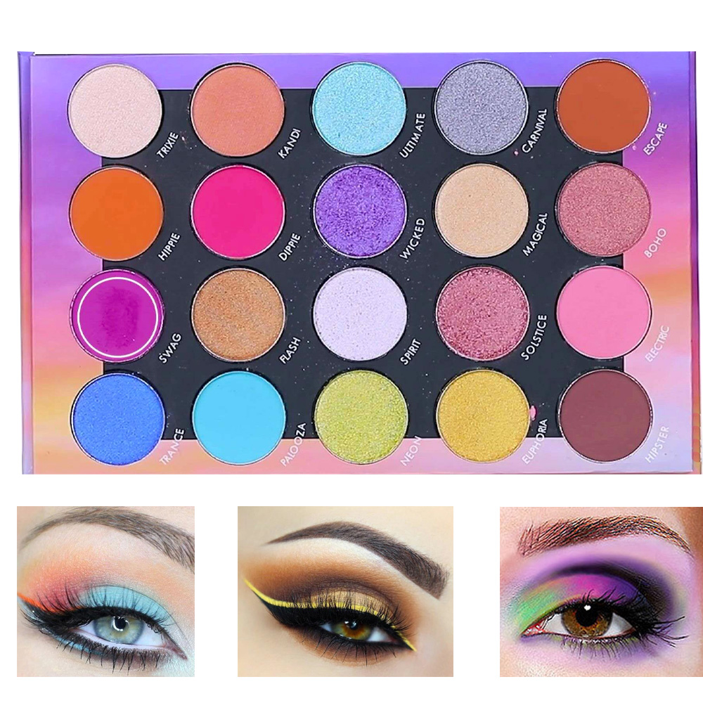 20 Color Shimmer Eye Shadow Palette Colorful Smoky Maquiagem Matte Silky Pigments For Music Festival Weekend Party Makeup