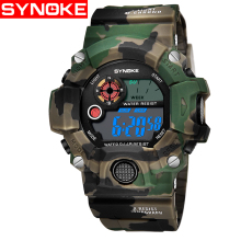 SYNOKE Outdoor Sports Army Watch Camouflage Color Mens Quartz Digital Watches Men Luxury Brand LED Waterproof Wristwatches