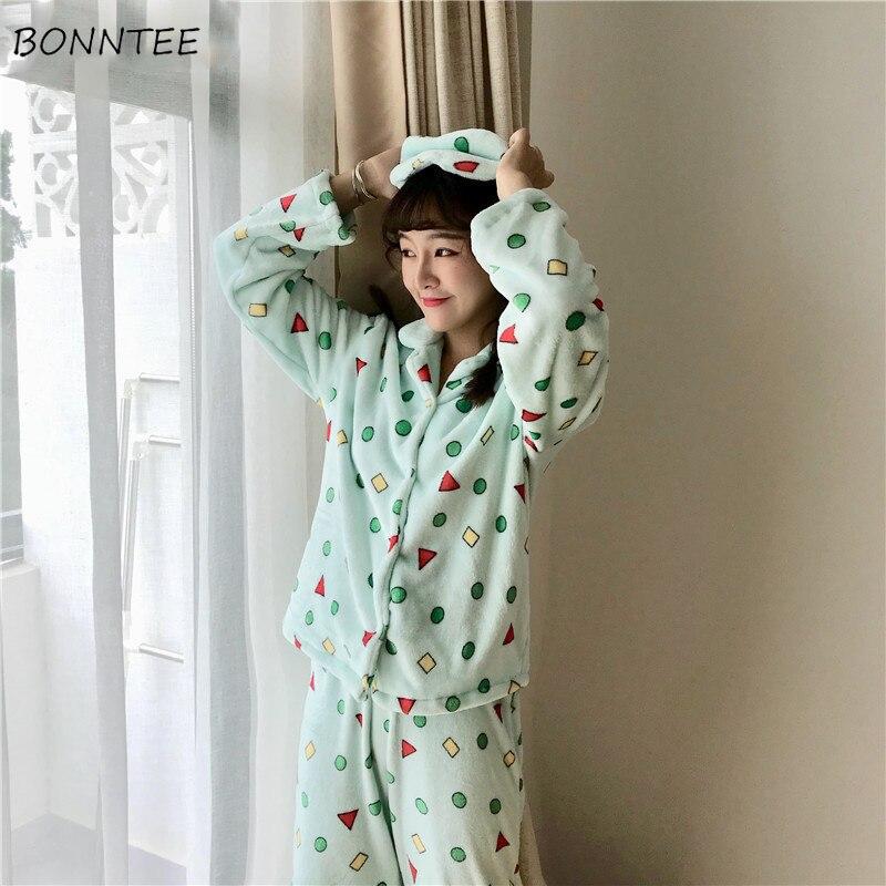 Pajamas     Sets   Women Geometric Printing Kawaii Winter Warm Flannel Long Sleeve Womens Homewear   Set   Two Pieces Lovely Sleepwear New