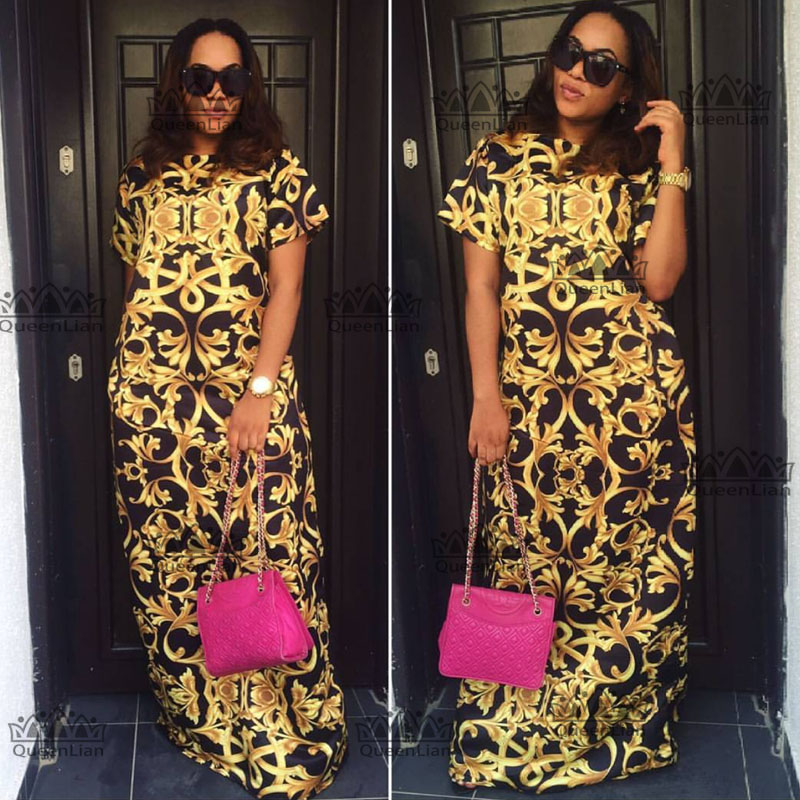 2018 Size(L-3XL)African New Dashiki  Fashion Design Super Elastic Printing Party Dress For Lady CP05#