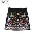 RZIV 2016 mujeres de color sólido ocasional faldas bordadas
