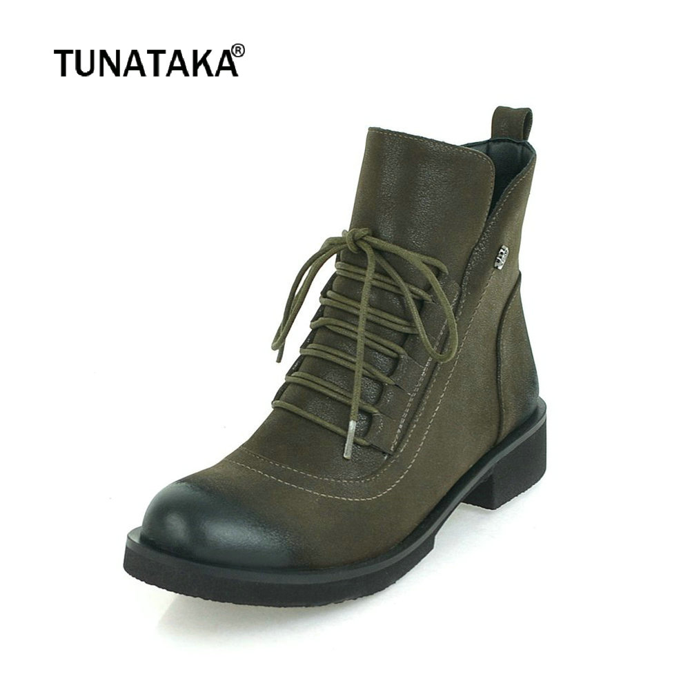 Women Cow Suede Ankle Boots Platform Flat Heel Fashion Martin Boots Lace Up Autumn Winter Woman Shoes Plus Size 2018 New 2018 new autunm winter ankle short women boots flat heel lace up single martin boots shoes push warm flat shoes ladies zk 3 5