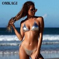 OMKAGI Sexy Push Up Brazilian Bikini 2017 Swimsuit Swimwear Women Shiny Solid Bikinis Set Bathing Suit