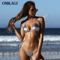 OMKAGI Sexy Push Up Brazilian Bikini 2017 Swimsuit Swimwear Women Shiny Solid Bikinis Set Bathing Suit