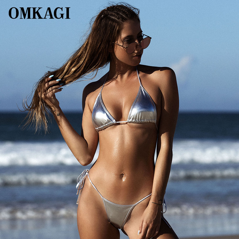 OMKAGI Sexy Push Up Brazilian Bikini 2018 Swimsuit Swimwear Women Shiny Solid Bikinis Set Bathing Suit Beachwear Summer Newest 2018 summer women bikinis set sexy striped swimwear strappy brazilian bikini beach bandeau swimsuit push up bathing suit xl e607