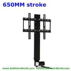 Motorized TV lift TV stand TV mounts 110-240V AC input 650mm 26inch stroke with remote and controller and mounting parts