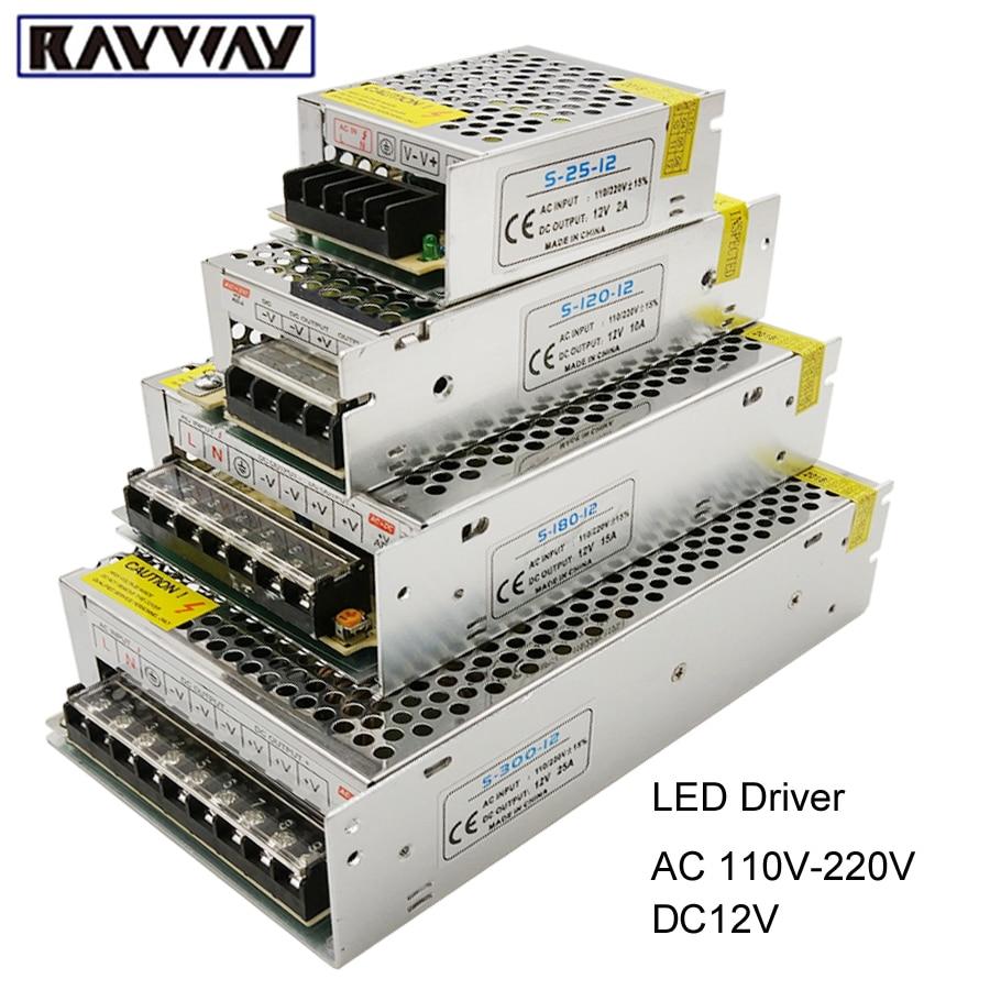 Unidad de fuente de alimentación del controlador de LED 1A 2A 3A 5A 10A 20A 30A AC110V-220V a DC12V Adaptador de transformador 60W 120W 240W Para luz de tira LED