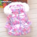 Nueva Niñas Bebés Abrigo de Invierno Cuello de Piel de Manga Larga Engrosamiento Abajo Chaquetas de Invierno Para Niñas Niños Casuales Capa de Nieve
