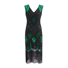 Woman XXL Dress Sleeveless Vintage Sequins Party Dress V-Neck Plus Size Party 1920s Great Gatsby Flapper Sequin Midi Dress stretchy bodycon dress womens v neck vintage fringe embellished sequin beaded flapper dress gatsby plus size knitted shift dress