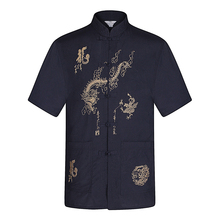 WAEOLSA Men Summer Tunic Shirts Chinese Dragon Embroidery Tops Man Tangzhuang Blouse Male Red Beige Navy Blue Shirt Oriental Top