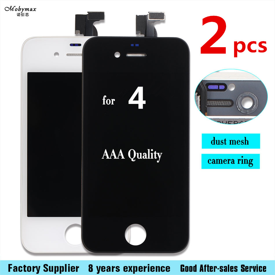 2PCS AAA Quality For iPhone 4 LCD Touch Screen Assembly 100% Brand New Display LCDs for iphone 4 Screen