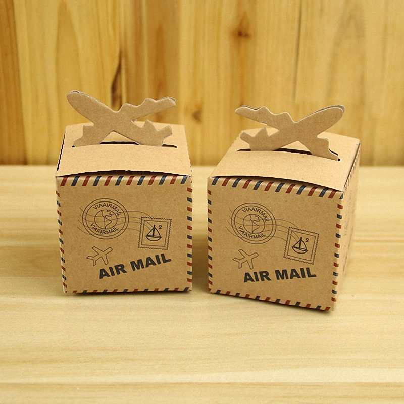 50pcs Nautical Air Mail Brown Kraft Paper Airplane Candy Box Cube Tiny Gifts Chocolate Bags