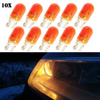 10x T10 Halogen bulb W5W W3W Amber/Orange color 12V 3W 194 158 Side wedges car light source instrument lights halogen lamp цена 2017