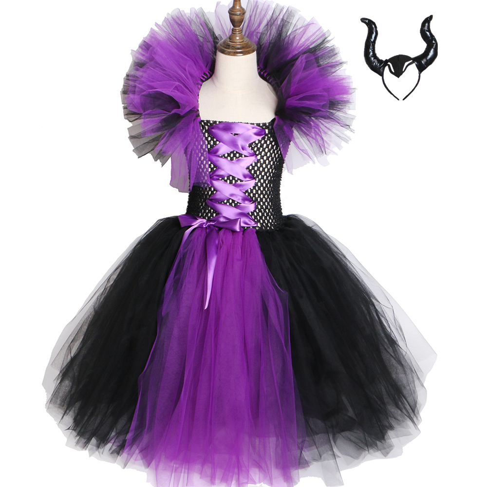 Maleficent Evil Queen Girls Tutu Dress Kids Halloween Dress Cosplay Witch Costumes Fancy Girl Party Dress Children Clothes 2-12Y цена