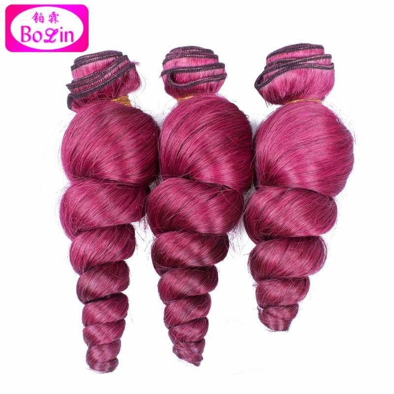 #530 Brazilian Loose Wave Human Hair Bundles Loose Wave Virgin Hair Red Burgundy Human Hair Weave 3pcs/lot Virgin Brazilian Hair