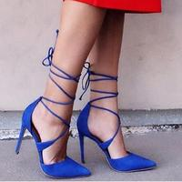 Summer Sexy Lady 2017 New Designer Lace Up High Heel Women Pumps Pointed Toe Crisscross Stiletto Heels Wedding Party Dress Shoes