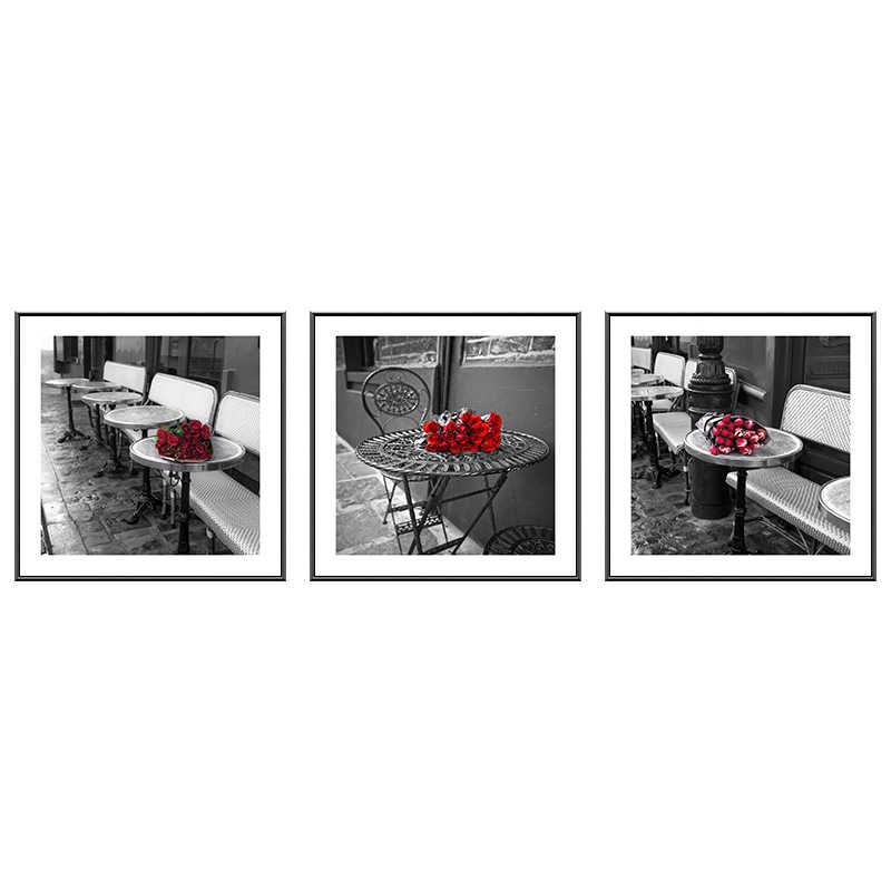 Moderna di Twilight Rose Rosse Nero n Bianco della Tela di Canapa Pittura Poster di Stampa Vintage Foto Arte Della Parete Per Soggiorno camera Da Letto Corridoio cafe