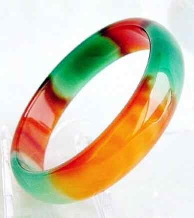 Pretty Genuine Asia Red/Green Natural Agate Jade Bangle Bracelet 56-59mm