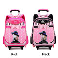 Привет-котенок девушки школьные рюкзаки с колесами высокое качество нейлон дети съемный тележка школьную сумку 30L красный черный цвета