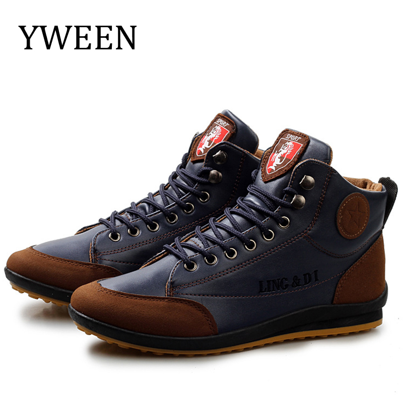 YWEEN Hot Sale Men Boots Spring Autumn Waterproof Leather Shoes Men's Ankle Boots Lace Up Man Shoes Plus Size 38-46