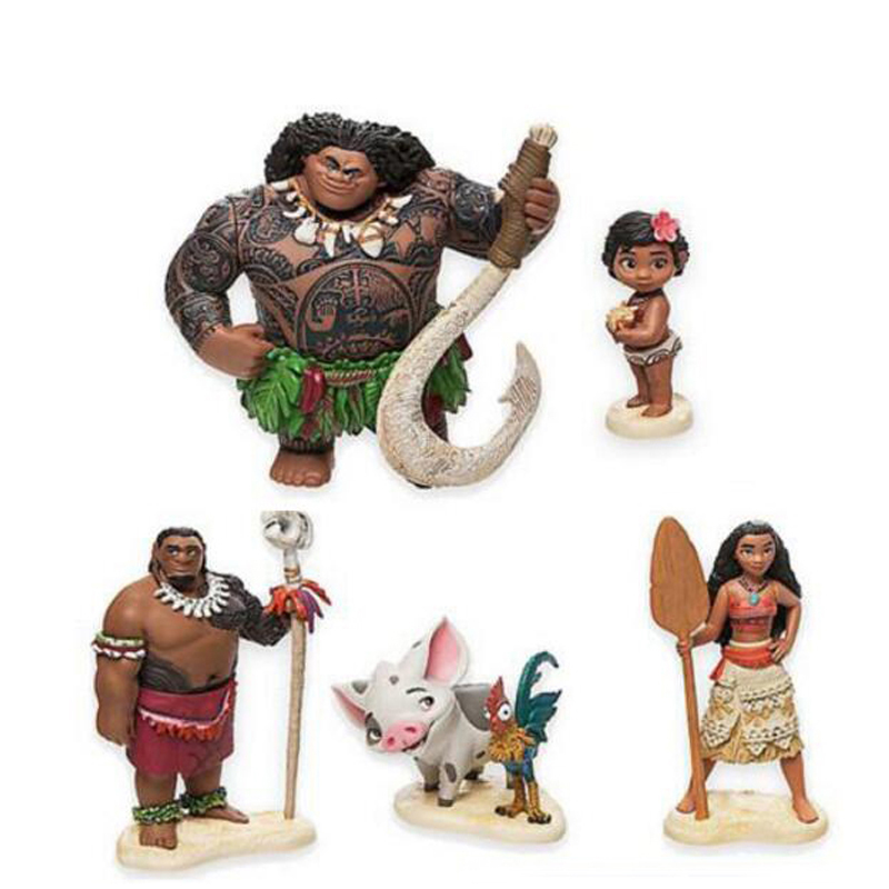 6pcs/set 6-12cm Moana Princess Maui Chief Tui Tala Heihei Pua Action & Toy Figures An Enriches And Nutrient For The Liver And Kidney Action & Toy Figures