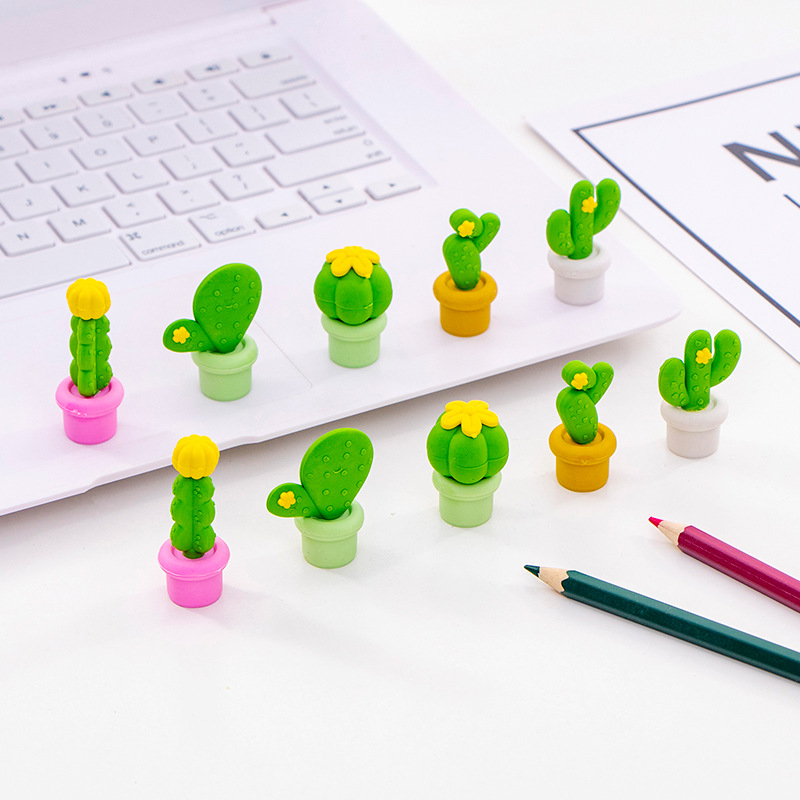Image 2 - 12 pack/lot Cactus Series Eraser Set Rubber Eraser Primary Student Prizes Promotional Gift Stationery-in Eraser from Office & School Supplies