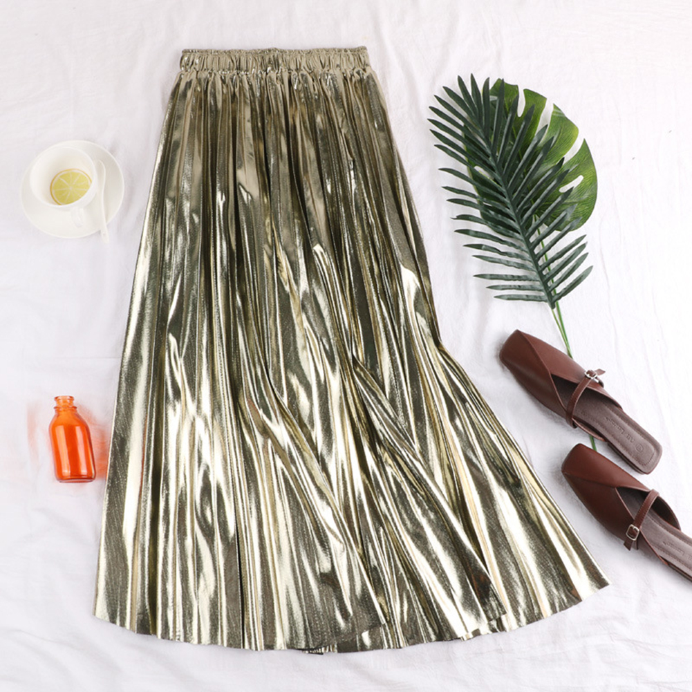 HTB1KZ9xU7voK1RjSZFDq6xY3pXav - Autumn Women Pleated Skirt Elegant High Waist Women Long Skirt Ladies Silver Gold Metallic Shiny Ankle-Length Maxi Skirt