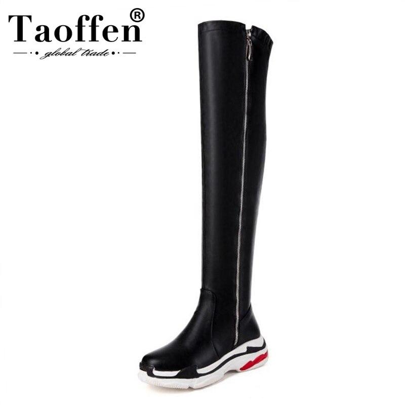 Taoffen Plus 29 46 Women Over Knee Boots Zipper Platform Shoes Winter Women Warm Fur Fashion